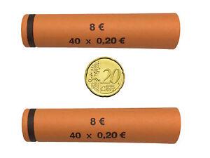 2000 Papierhülsen Münzhülsen vorgefertigt und gerollt - Rollenpapier für 20 Cent