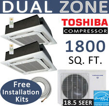 Dual Ductless Mini Split Air Conditioner Heat Pump: 12k x 24k Ceiling Cassettes