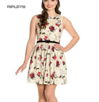 Hell Bunny 50s Vintage CECILY Cream Mini Skater Dress Roses Flowers All Sizes