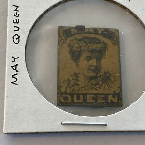 Tin Tobacco tag May Queen BLK on YLW Lady with wreath on Head And Neck Very Fine