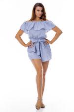 Women Off Shoulder Ruffle Elastic Waist Short Jumpsuit Belted Romper