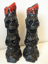 Pair of Black SKULL Candle Holder Ornaments Gothic Halloween Pagan