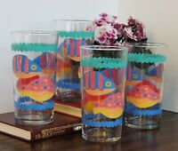 Set of 4 Libbey Tropical Fish Tumblers Large 18 oz Tropical Colors Clear Glass