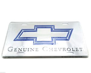 Genuine Chevrolet Chevy Silver/Blue Logo Licensed Metal License Plate Sign Tag