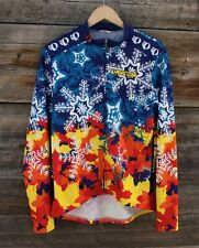 Vintage Pearl Izumi Snowflake Pattern Full Zip Long Sleeve Cycling Jersey Large