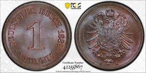 Germany 1889-G 1 Pfennig, KM-1, PCGS MS66+BN