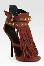 GIUSEPPE ZANOTTI Brown Suede Fringe Studded Sandals Strappy Heels sz 38 1/2