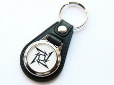 More details for metallica ninja star heavy metal band quality leather and chrome keyring