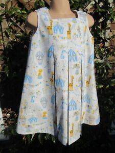 Girls Pleated Sleeveless/Pinafore Dress, Blue, Circus, 4-5 Years, New Handmade
