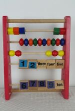 Wooden Red Chad Valley Numbers Counting Shapes Colours Abacus Learning