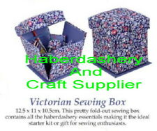 SEWING BOX PRINTED VICTORIAN STYLE WITH PRODUCTS AS SHOWN