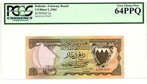 Bahrain ... P-2a ... 1/4 Dinars ... L.1964 ...  Ch*UNC* ... PCGS 64 PPQ.