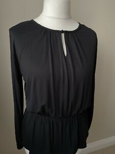 LADIES BLACK GATHERED TOP SIZE 12 NEW WITH TAG