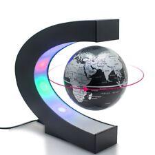 C-Shape MAGNETIC Levitation Floating GLOBE LED Light World Map Decor Fashion BLK