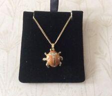 Gold Plated Enamel Ladybug Necklace