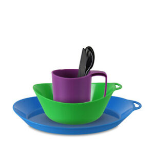 Lifeventure Ellipse Plastic Camping Tableware Set - Plate, Bowl, Mug, Cutlery