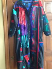 SFR Coat Santa Fe Recreations Western Ladies Long Coat Denim/Wool/Suede Size S