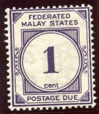 Malaya Federated States 1926 KGV Postage Due 1c violet MLH. SG D1w.