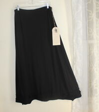 NWT Krista Larson O/S S M L XL BLACK Wool Jersey ROSE Floral Long Full Skirt