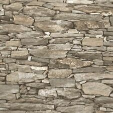 NATURAL BEIGE BRICK DRY STONE WALL EFFECT REALISTIC WALLPAPER DEBONA 1282