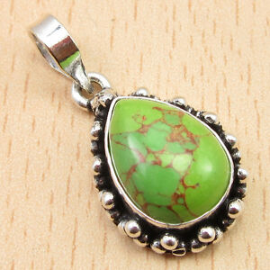 """925 Silver Plated GREEN COPPER TURQUOISE RETRO STYLE Pendant 1.2"""""""