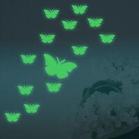 Schmetterling 12er Set Aufkleber nachts leuchtend Deko Sticker fluoreszierend