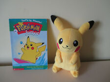 Pokemon Pikachu 8 Inches Tall Soft Toy and Surf's Up Pikachu PB Book VGC Clean