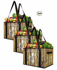 Earthwise Deluxe Collapsible Reusable Shopping Box Grocery Bag (3 pc Set)