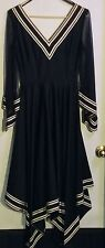 Black Dress Authentic Vintage Retro Elegant Hankerchief Bottom Sz 11 Juniors