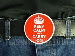 Famous British Keep Calm And Carry On Belt Buckle Fitted To A Leather Belt
