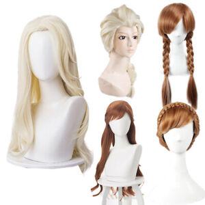 Frozen 2 Cosplay Elsa Snow Anna Wig Women Hairpiece Halloween Party Accessories