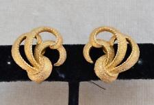 Vintage Signiert Trifari Crown Goldton Strukturiert Ohrstecker