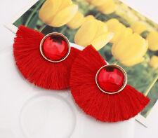 Fashion Women Boho Crystal Tassel Fringe Drop Dangle Hook Hoop Ear Stud Earrings