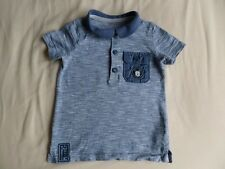 Disney Micey Boys Blue Short Sleeve 100% Cotton Polo T-Shirt Size 9-12 Months
