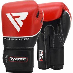 RDX T9 Leather Red 16oz Boxing Training Gloves Black Hook & Loop Men & Ladies