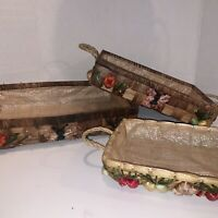 Vintage Casserole Pyrex Corning Ware Dish Basket Holders With Raffia  Flowers