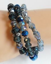 Shades of Blue Faceted Glass Beads Rhinestone Studded 3 String Stretch Bracelet