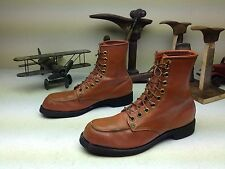 PLAINSMAN MADE IN USA BROWN DISTRESSED STEEL TOE LACE UP PACKER BOOTS SIZE 10 R