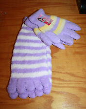 Toe Socks w Matching Gloves Purple,Yellow, White Stripes Colorful Soft & Cozy