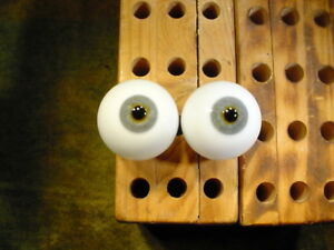 vintage pair glass eyes for human wax or bisque Doll age 1910 Ø 35 mm 11552