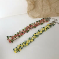 Romantic Flowers Necklace Choker for Women Girl Embroidery Chic Clavicle Chain