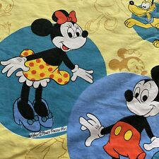 Vintage Disney Mickey Minnie Minnie Mouse Pluto Canopy Sheet Bedding Fabric Vtg