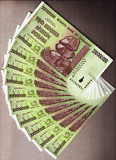 200 Million Zimbabwe Dollars x 10 Banknotes AA 2008 ~ Consecutive #'s Almost UNC