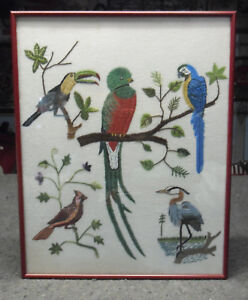 "Embroidered Framed Birds Hand Made in Guatemala by Jose ""Pops"" Pacach 17""X13.75"""