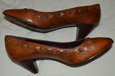 New Miss Sixty Pumps, Brown, Leather, Studded, Size 36 (US 6)