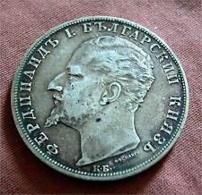 BULGARIA -FERDINAND I (1887-1908) SOLID SILVER 5 LEVA 1894 -KM # 18 -GOOD V.F+