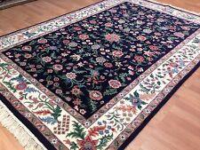 Fantastic French Design - Dark Navy Rug - Indian Oriental Carpet - 6.2 x 8.6 ft.