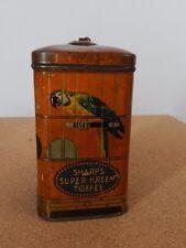 Vintage sharps Super Kreem toffee Tin smal parrot cage design Scarce 6x6x11cm