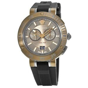 New Versace V-Extreme Brown Chronograph Dial Rubber Strap Men's Watch VCN030017