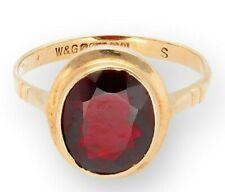 Vintage 9Carat Yellow Gold Bezel Set Garnet Solitaire Ring (Size L) 8x9mm Head